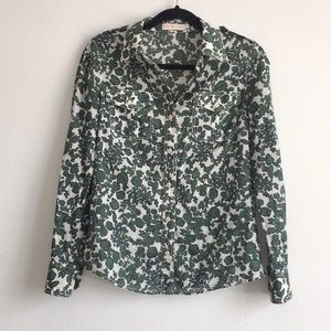 TORY BURCH Issy Vine Leaf Print Button Down Blouse